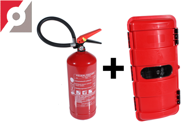 KIT Feuerlöscher+FL-Kasten 6 kg, Ø 160mm x H 520mm NF