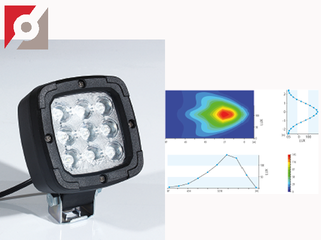 LED Arbeitsscheinwerfer, 9 LED, eckig + Befestigung
